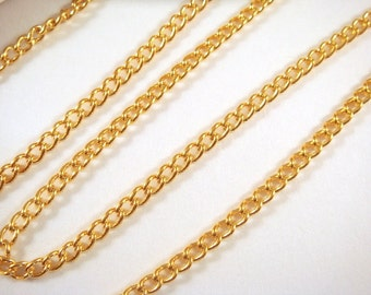 5ft Gold Plated Curb Chain Plated Iron 3.7x2.5mm Not Soldered - 5 feet - STR9047CH-G5