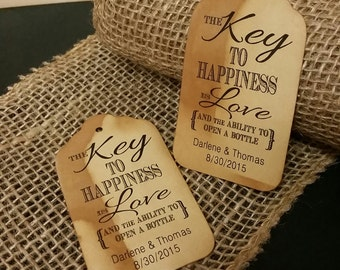 Key to Happiness is Love Bottle opener favor tag MEDIUM Tags Personalize with names and date Choose your Quantity MEDIUM