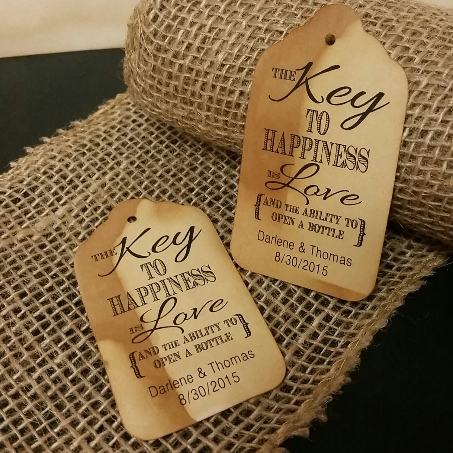 Key To Happiness Is Love Bottle Opener Favor Tag Medium