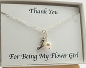 Flower Girl Necklace, J Initial Necklace with Pearl, Swarovski Crystal Cream Pearl Necklace, Sterling Silver, Flower Girl Proposal Necklace