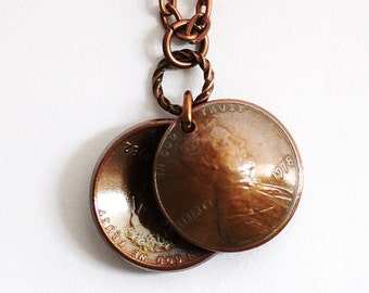 American U.S. Penny Necklace, Domed Coin Penny Necklace, Abraham Lincoln Penny Coin  Pendant, Good Luck Pennies, 1978 Handmade by Hendywood