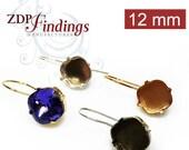 4pcs x Square 12mm Kidney Wire Bezel Earrings Setting Suitable for Swarovski 4470 - Choose your Finish (KWSQ1211V)