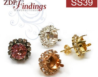 2pcs x Round 39ss Bezel Post Earrings base for swarovski ss39 Stud with Crystal Rhinestone Choose your Finish (PO39SSCRYV)