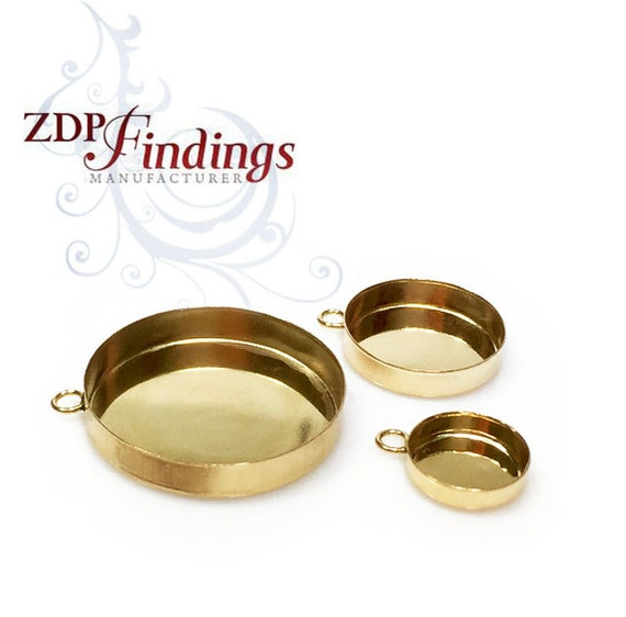 14k Gold Filled Round Bezel Cups Tray with Ring ,Different Size for your Choose  (RDxx1GFV)