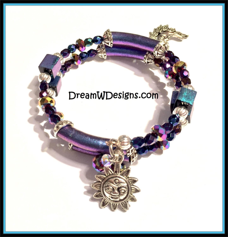 purple sun and moon bracelet celestial bracelet sun and