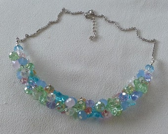 Green Pink Blue Lilac Clear Silver Crystal Cluster Necklace