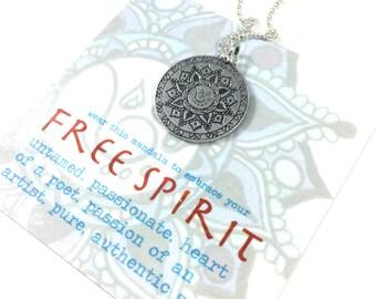 Free Spirit Mandala Hand Drawn Pendant