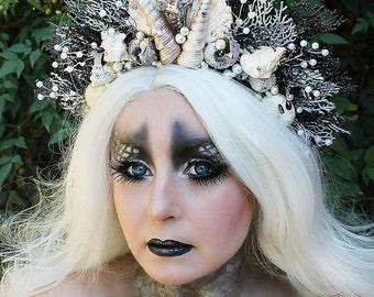 Dark Mermaid Crown, Shell Crown, Mermaid Headpiece, Siren, Mermaid Hair Accessory, Mermaid Hair Wreath, Runway, Pageant, Halloween, Festival