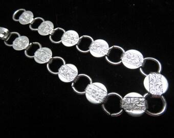 Vintage 1960 Sarah Cov Bracelet Brushed and Shiny Silver Metal round disks