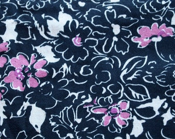 vintage 80s cotton fabric, featuring great stylized floral design, 1 yard, 3 available, priced PER YARD