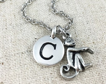 Silver Monkey Charm Necklace, Personalized Initial Charm Necklace, Monkey Charm Jewerly