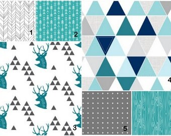 Deer and triangles teal charcoal   Custom Modern Crib Bedding set - create your own set