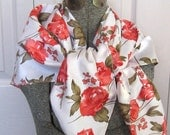 Red Roses Scarf . Red Roses on Cream Satin Scarf . Watercolor Roses Scarf . red rose scarf