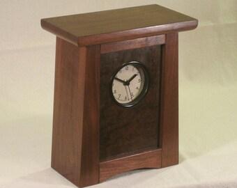 Arts & Crafts, Mission Style Clock - Walnut / Walnut Burl