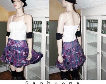 Vintage 80s tiered silk mini skirt short circle skirt tutu crinoline Cyndi Lauper ruffled boho festival layered gypsy floral poofy W US SHIP