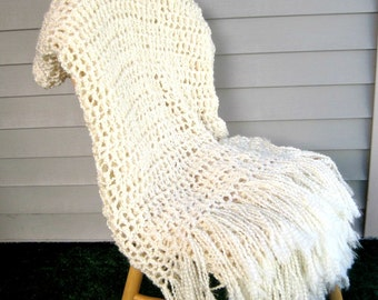 Throw Blanket Crocheted with Fringe-Cream Blanket, Handmade Afghan, Home Decor, Bedroom, Neutral Interior Palate- Made To Order