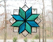 Stained Glass Suncatcher, Quilt Pattern - 8 Point Star, Aqua Blue,Teal Green, & Clear Bevels