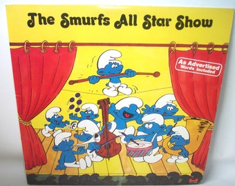 Vintage The Smurfs All Star Show Record Album LP with words to lyrics