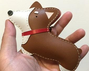 Big size - Nana the Corgi cowhide leather charm ( Brown )