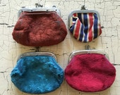 Small Antique Velvet and Striped Purse Set of 4 Doll Child Coin Purse Lot