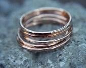 Rose gold filled stacking ring - hammered stacking ring ring - rose gold ring - simple band - minimalist