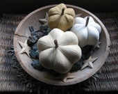 pumpkins, fabric pumpkins, Fall, Autumn decor, wedding centerpiece - shades of white - set of 3 p U m P k I nS with 1 set of bling - 101
