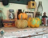 pumpkins, fabric pumpkins, Fall, Autumn decor, wedding centerpiece - sunshine, turquoise - set of 3 p U m P k I nS with 1 set of bling -103