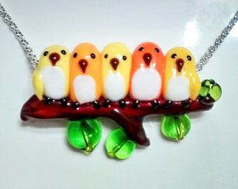 5 Canaries Snuggling on a Branch, Lampworked Glass Necklace