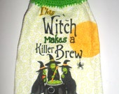 Halloween Witch Towel - Hanging Witch Towel - Crocheted Top Towel - Hanging Kitchen Towel - Halloween Kitchen Decor - Hand Towel
