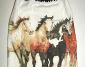Wild Horses Hanging Towel - Crochet Top Towel - Hanging Kitchen Dish Towel - Running Horses Towel - Kitchen Towel - Black Crochet Top Towel
