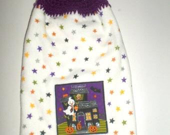 Double Hanging Towel - Halloween Towel - Double Plush Towel - Crocheted Top Towel - Hanging Kitchen Towel - Dish Towel - Ghosts Pumpkins
