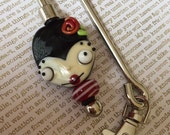 OOAK Handmade Lampwork Creepy Cutie Purse Hanger/Key Finder