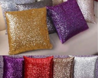 "SEQUIN PILLOW COVERS- Colors- Pillow Case,Throw Pillow- cover, 14, 16, 18, 20, 24"" square- Euro sham 27"" or lumbar 12x18 sham, Wedding"