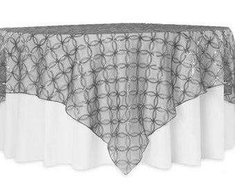 SHEER SEQUINS CIRCLES Overlays, Tablecloths Colors Sequins Square,  Rectangle, Round Tablecloth Silver,