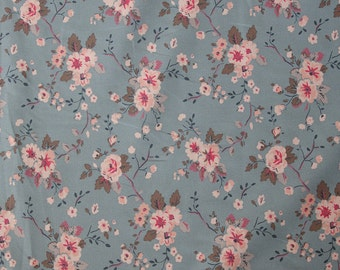 4088 - Cath Kidston Trailing Rose (Pale Blue) Cotton Canvas Fabric - 57 Inch (Width) x 1/2 Yard (Length)