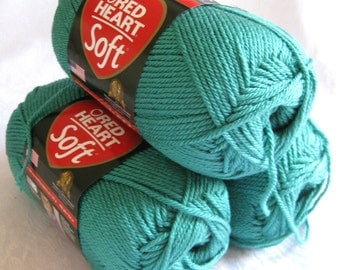 Red Heart Soft DEEP SEA yarn, medium worsted weight yarn, aqua green