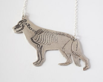 German Shepherd Necklace - Dog Skeleton - Skeleton Necklace - Silver Dog Jewelry - Veterinarian Gift