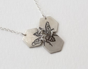 Bee Necklace - Hexagon Necklace - Etched Bee Necklace - Silver Bee - Honeybee Jewelry - Geometric Necklace