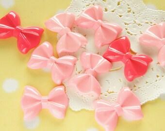 SALE b-grade All Light Pink 9 pcs Small Simple Bow Cabochon (20mm28mm) BW158 (((LAST)))