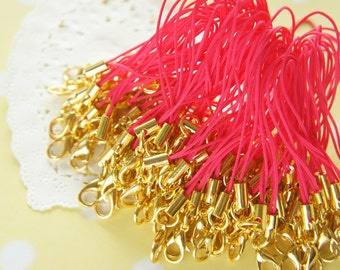 10 pcs Cell Phone Straps with Lobster Clasp Gold / Dark Pink YU034