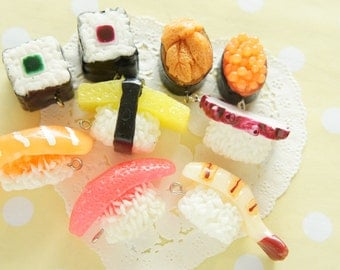 Assorted 5 pcs Mini Sushi Charm AZ186 (((LAST)))