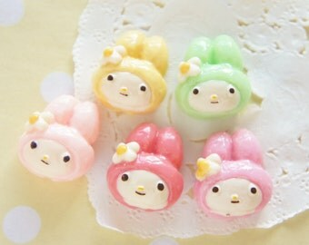 SALE 5 pcs Kawaii Bunny Face Sweet Bread Cabochon (19mm22mm) CD582