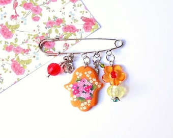 Orange Safety Pin Brooch, New Baby Gift, Protective Silver pin Hamsa Charm, Baby Stroller Decoration, Diaper Bag Decoration