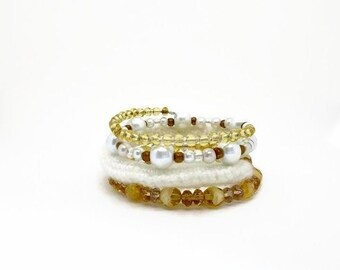 Women's Wrap Bracelet, Bling Jewelry,in Natural Shades of Milky White, Ivory, Cream and Gold Tones