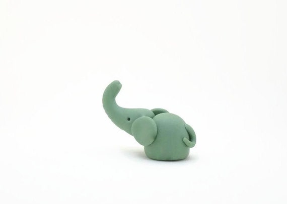 Mint Green Seafoam Hand Carved Animal Baby Elephant