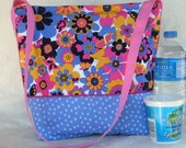 Periwinkle and pink Insulated Lunch Bag  OOAK
