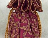 Anti Tarnish Jewelry Pouch, Bag in Burgundy Swirls
