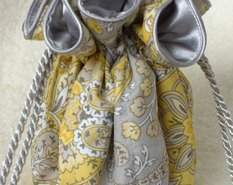 Yellow and Grey Paisley Jewelry travel Bag, Jewelry Pouch organizer