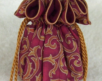 Anti Tarnish Travel Jewelry Pouch, Bag in Burgundy Swirls