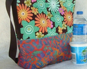 Insulated Lunch Bag in orange and seafoam  OOAK